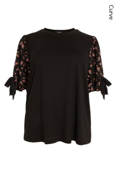 Curve Black Floral T Shirt